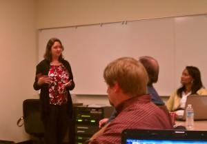 Heather Ackmann speaking to class