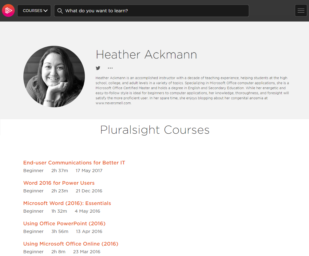 Heather Ackmann Full List of Courses at Pluralsight.com