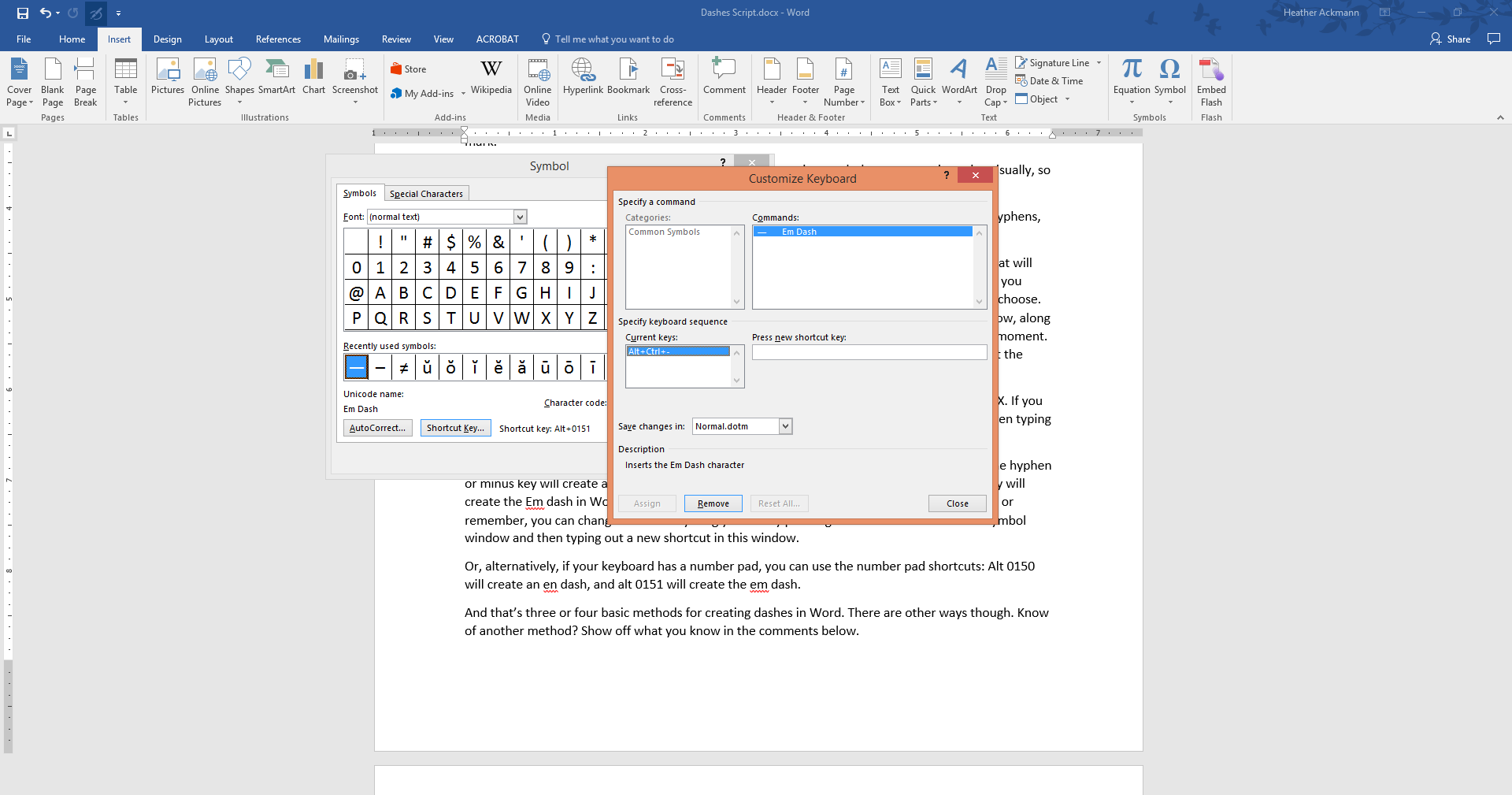 hyphens  en dashes  and em dashes in microsoft word