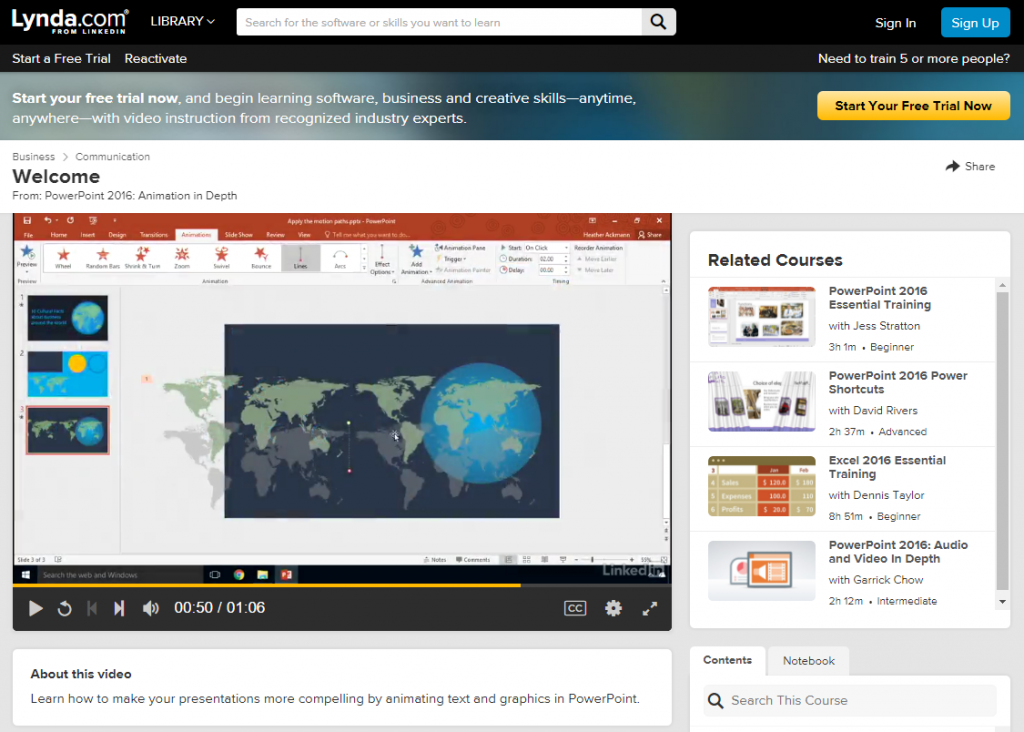Website Lynda.com PowerPoint 2016 Animation in Depth