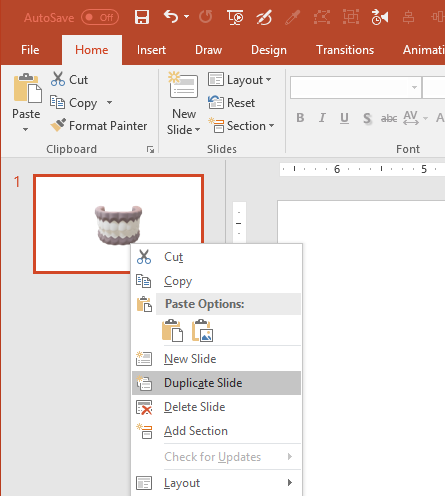 Duplicate Slide in PowerPoint 2016