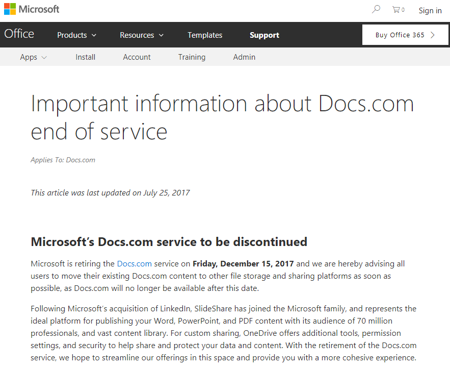 docs.com support article link