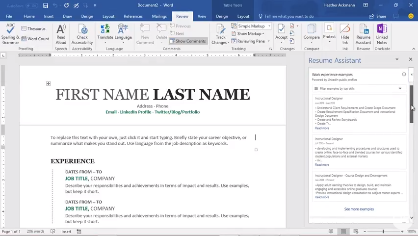 how to use the new word 2016 resume assistant responsibly heather