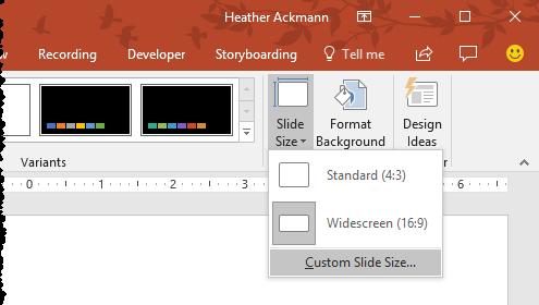change Custom Slide Size