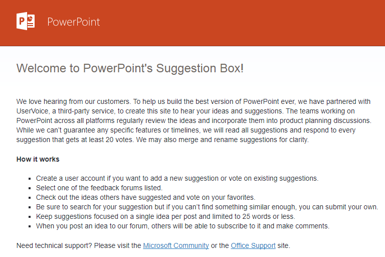 PowerPoint's Suggestion Box - UserVoice