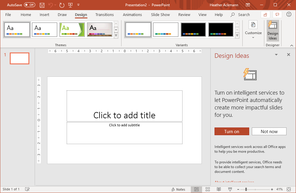 "Picture of the Design Ideas pane in PowerPoint with message that says "" Turn on intelligent services to let PowerPoint automatically create more impactful slides for you. Two buttons are there: ""Turn on,"""" and ""Not now."""