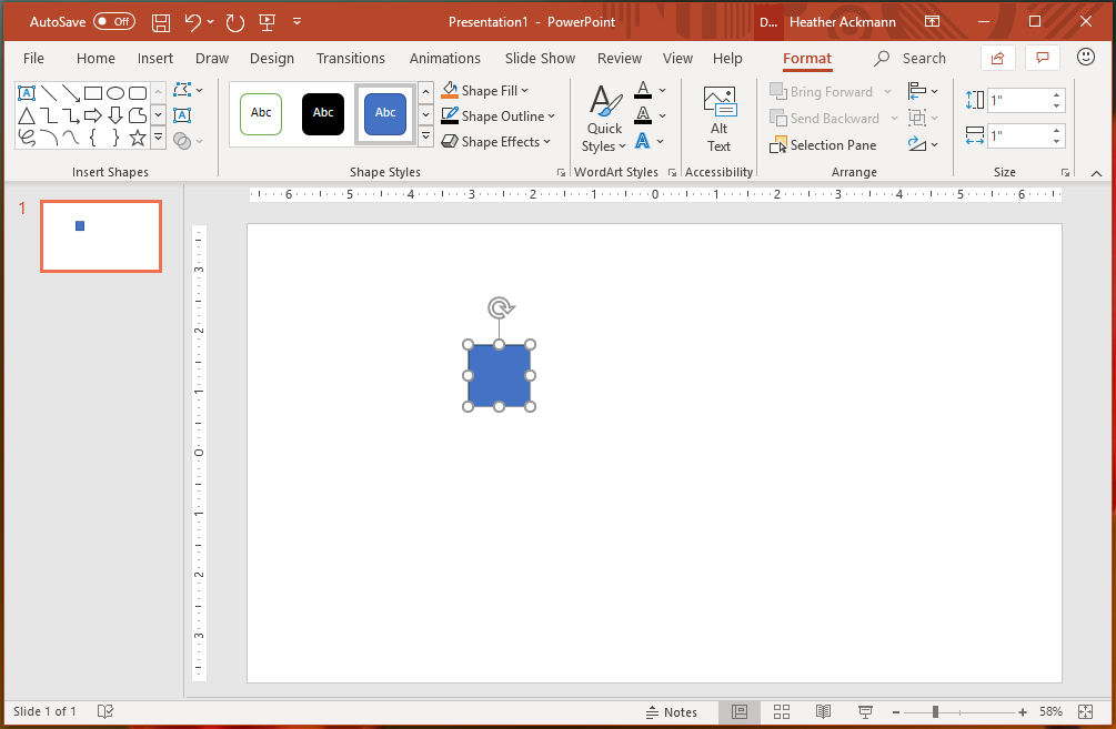 picture of a blue square shape in powerpoint