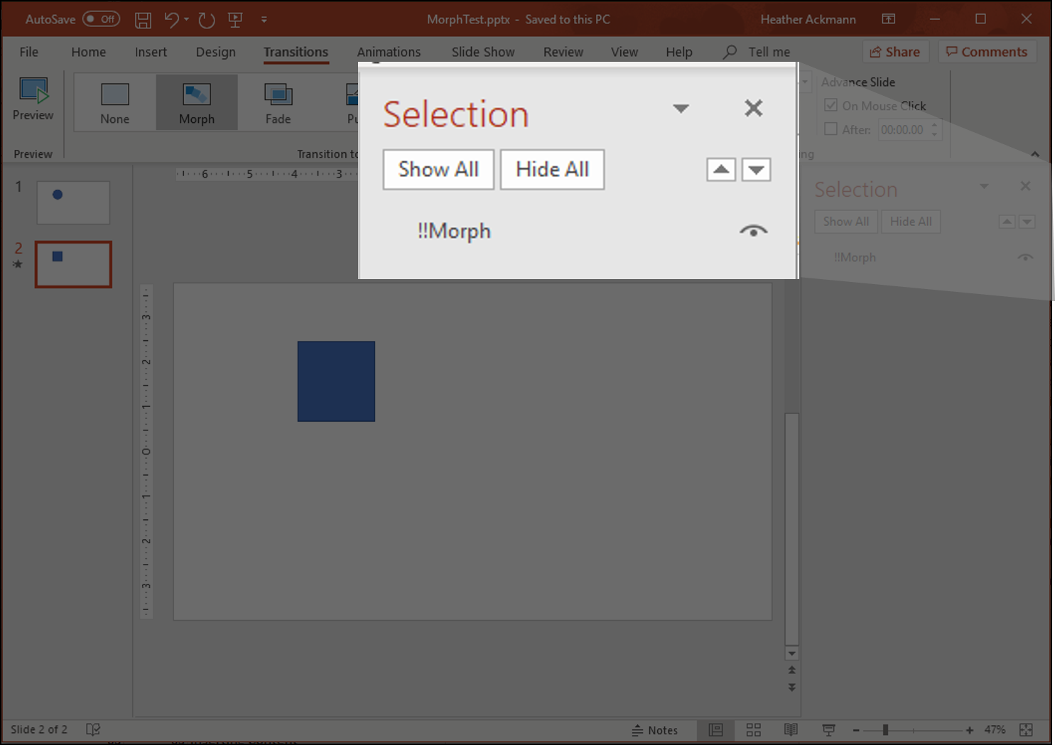 Selection Pane shown with text !!Morph applied to the selected shape on the slide