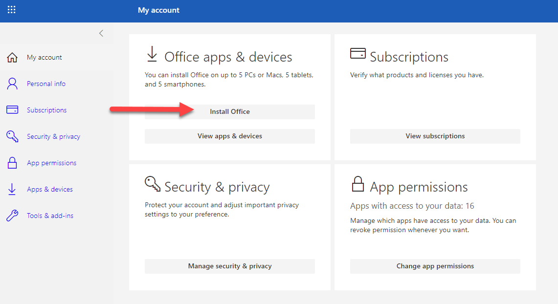Click Install Office button under Office apps & devices