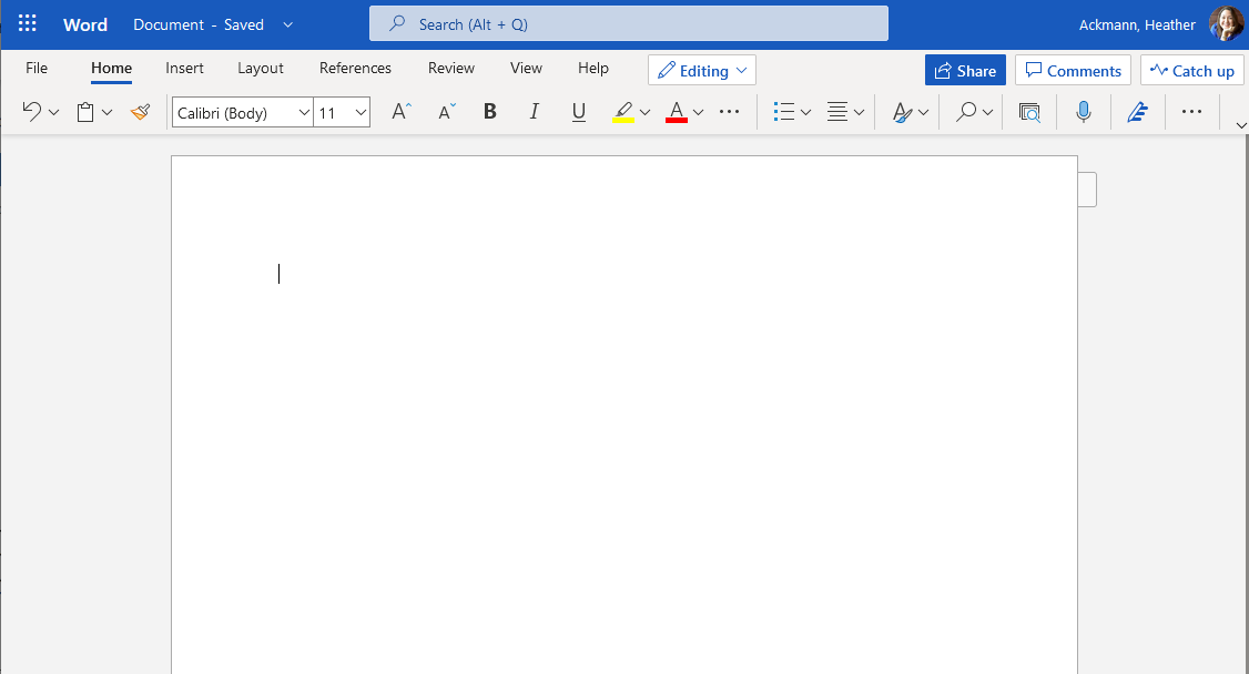 Word for the Web New Document Window